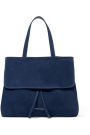 Lady mini leather-trimmed suede tote