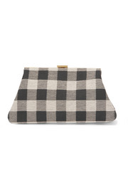 Volume mini checked canvas clutch