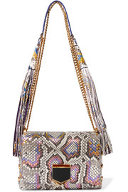 Jimmy Choo Lockett Petite tasseled iridescent python shoulder bag