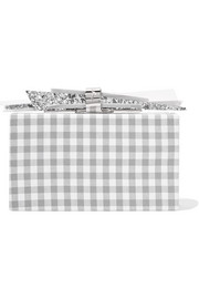 Wolf gingham cotton and glittered acrylic box clutch
