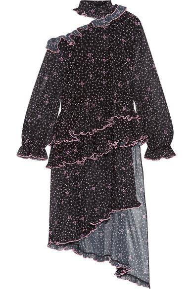 Sandy Liang - Truffle Asymmetric Ruffled Printed Chiffon Top - Black