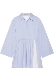 Cosmo broderie anglaise-paneled cotton-poplin mini dress