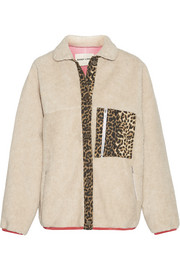 Sandy Liang Checkers leopard-print canvas-trimmed faux shearling jacket