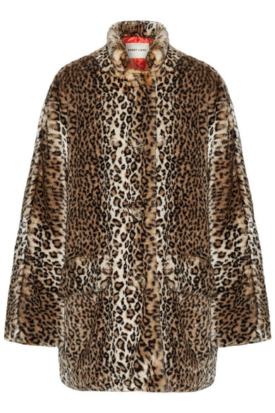 Sandy Liang - Quincy Faux Shearling-trimmed Leopard-print Faux Fur Coat - Dark brown