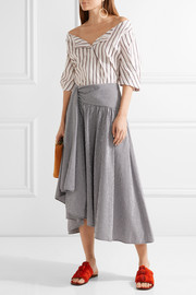 Asymmetric draped gingham seersucker midi skirt