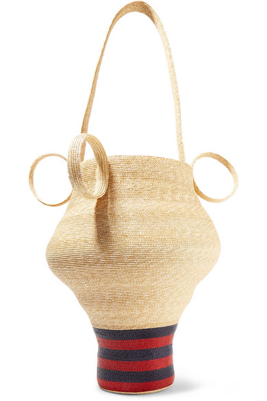 Rosie Assoulin - Striped Straw Tote - Sand