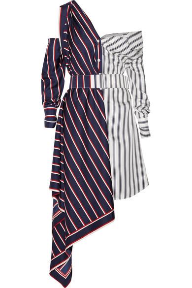 Monse - Off-the-shoulder Asymmetric Striped Silk-twill Dress - Navy