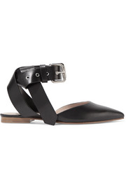 Monse Buckled leather point-toe flats