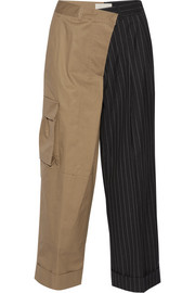 Monse Paneled cotton-twill and pinstriped wool wide-leg pants