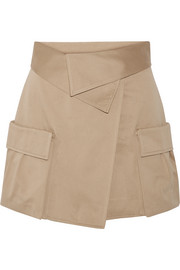 Cotton-canvas wrap mini skirt