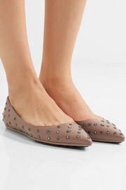 Jimmy Choo Willis embellished leather point-toe flats