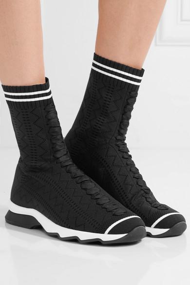 d00d5b4251b Fendi | Perforated stretch-knit sneakers | NET-A-PORTER.COM