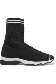 Fendi Perforated stretch-knit sneakers