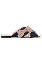 Fendi Bow-embellished stretch-knit and leather slides