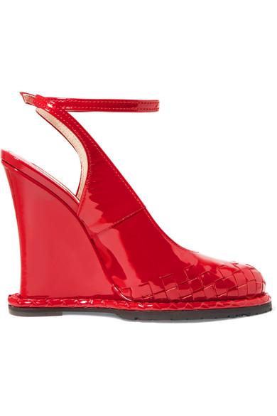 Bottega Veneta Woman Intrecciato Patent-leather Wedge Pumps Size 38 1KLyE