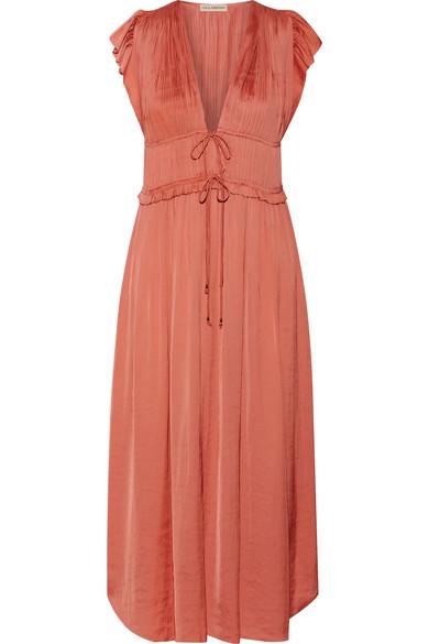 Ulla Johnson - Kaiya Plissé-satin Midi Dress - Antique rose
