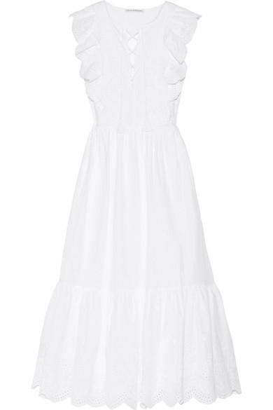 Ulla Johnson - Vera Ruffled Broderie Anglaise Cotton Midi Dress - White