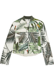Tema printed linen and cotton-blend bomber jacket