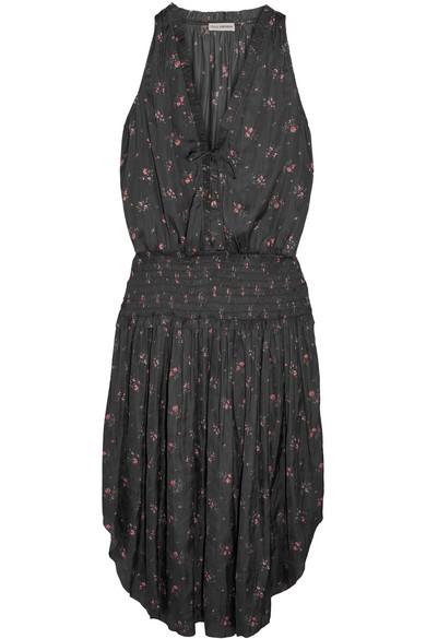 Ulla Johnson - Lucille Floral-print Satin Midi Dress - Black