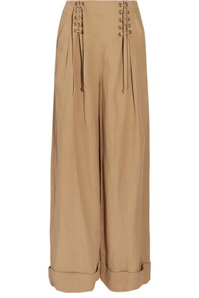 Ulla Johnson - Gaucho Pleated Broadcloth Wide-leg Pants - Light brown