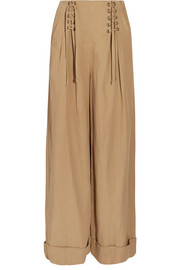Gaucho pleated broadcloth wide-leg pants