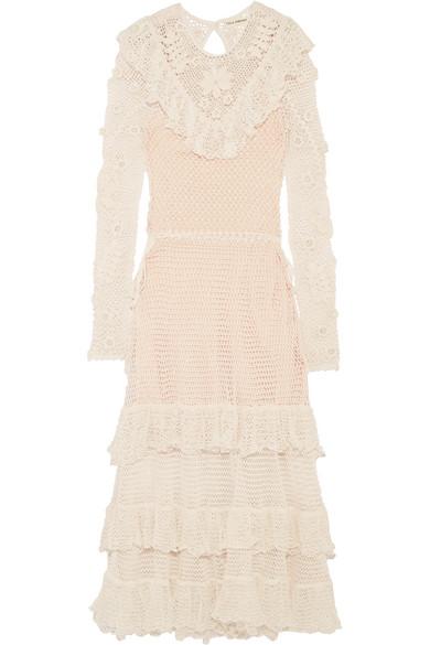 Ulla Johnson - Calliope Ruffled Crocheted Mercerized Cotton Midi Dress - Ivory