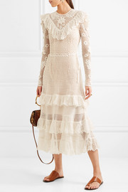 Ulla Johnson Calliope ruffled crocheted mercerized cotton midi dress