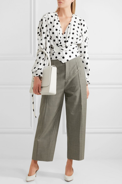 Jacquemus. Cropped gathered polka-dot poplin blouse