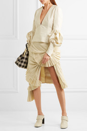 Pleated canvas skirt