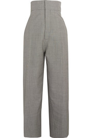 Houndstooth wool and mohair-blend tapered pants