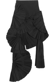 Pleated canvas maxi skirt