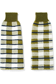 Checked stretch-knit arm warmers
