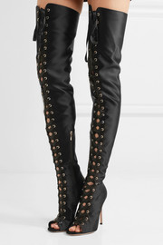 Gianvito Rossi Lace-up satin thigh boots