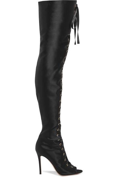 gianvito rossi female gianvito rossi laceup satin thigh boots black