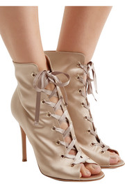Lace-up satin boots