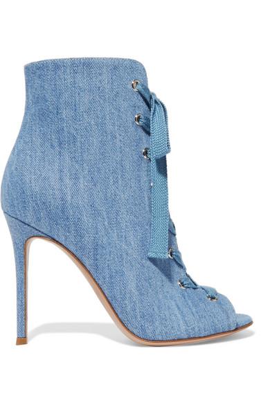 Gianvito Rossi - Lace-up Denim Boots - Light denim
