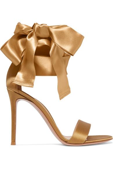 gianvito rossi female gianvito rossi satin sandals gold