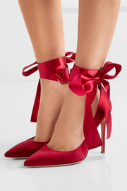 Gianvito Rossi Lace-up satin pumps