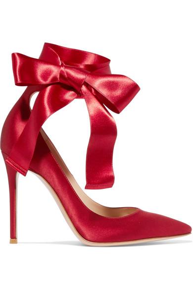gianvito rossi female gianvito rossi laceup satin pumps burgundy