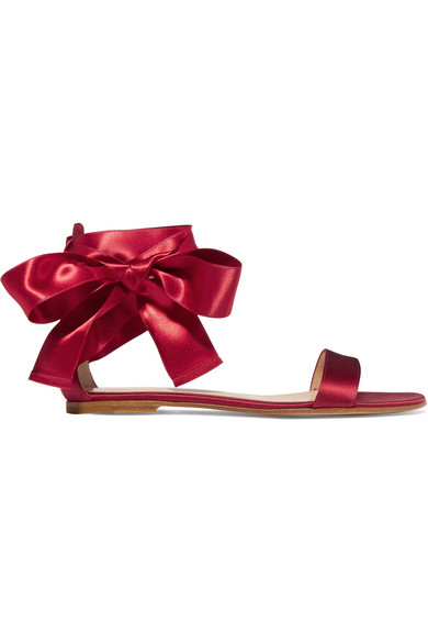 Gianvito Rossi - Lace-up Satin Sandals - Burgundy
