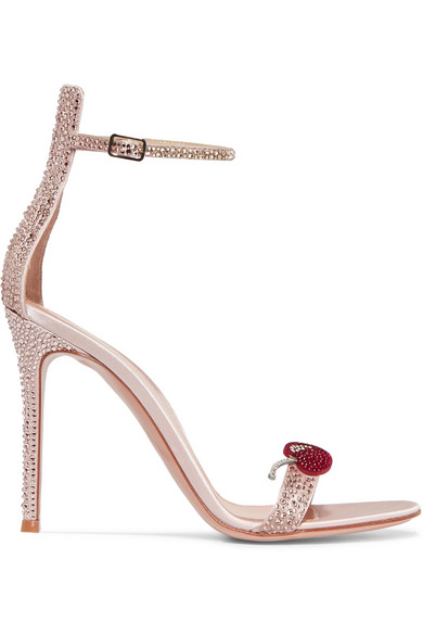 gianvito rossi female gianvito rossi crystalembellished satin sandals antique rose