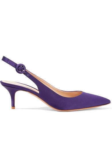 gianvito rossi female gianvito rossi satin slingback pumps dark purple