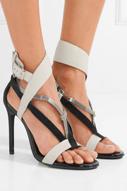 Chain-trimmed suede and leather sandals