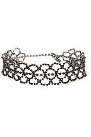 Gunmetal-plated crystal choker