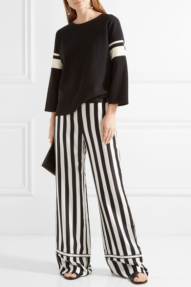 La Ligne | Striped silk-satin wide-leg pants | NET-A-PORTER.COM