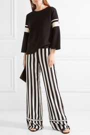 Striped silk-satin wide-leg pants