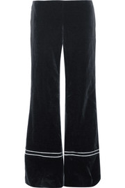 Satin-trimmed velvet wide-leg pants