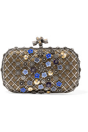 The Knot embellished metallic snake clutch