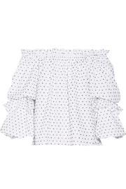 Gia off-the-shoulder Swiss-dot cotton blouse