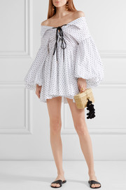 Caroline Constas Olympia off-the-shoulder Swiss-dot cotton mini dress